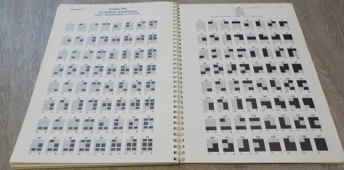 Tous les caractères semi-graphiques du VG5000µ